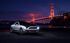 Picture Car, Muscle, Nigth, Bridge, Aristo, White, Collection, Front, Top, Mustang, Ford