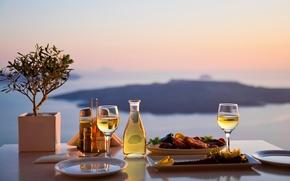 Wallpaper sea, landscape, table, view, bottle, food, blur, glasses, plates, spices, serving