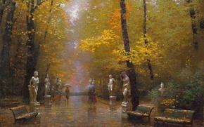 Picture autumn, trees, landscape, Park, rain, picture, art, umbrellas, walk, falling leaves, benches, statues, gold, Victor …