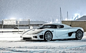 Picture winter, white, the sky, snow, building, Koenigsegg, white, side view, winter, snow, CCX, Keninsberg