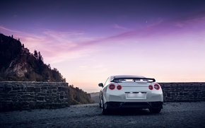 Picture GTR, Moon, Nissan, Sky, Mountain, Lights, White, R35, Spoiler, Rear, Nigth