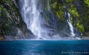 Picture nature, lake, rocks, waterfall, moss, New Zealand, David Capellari