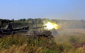 Picture fire, self-propelled, howitzers, SAU 2S3