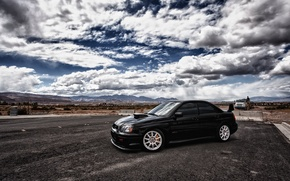 Picture the sky, clouds, Subaru, black