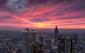 Picture skyscraper, home, the evening, Germany, panorama, glow, Frankfurt am main