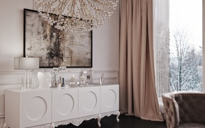 Picture design, furniture, lamp, interior, picture, chair, window, chandelier, white, blind, Orchid, living room