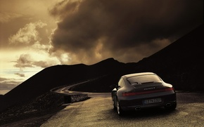 Wallpaper 997, 911, road, Porsche, Weather, Carrera 4, clouds