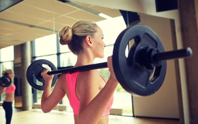 Picture woman, back, fitness, two-hand dumbbell