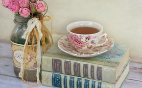Picture flowers, books, tea, Cup, Bank, pink, roses
