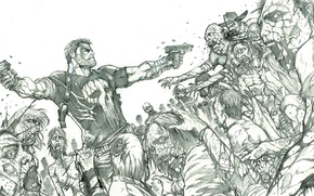 Picture Figure, Zombies, Punisher, Marvel, Comics, Marvel, The Punisher, The Punisher, Pencil