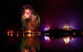 Wallpaper lights, lake, reflection, night, GLD, fireworks, the city