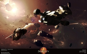 Picture planet, serenity, spaceships, asteroids