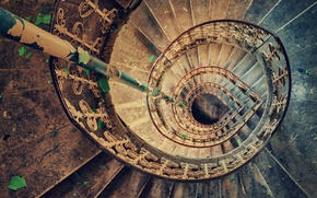 Picture spiral, staircase, abandoned, stairs