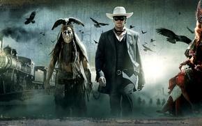 Wallpaper Johnny Depp, Western, The Lone Ranger, The lone Ranger, Armie Hammer