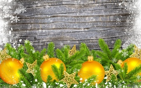 Picture snowflakes, branches, balls, stars, tree, Christmas decorations