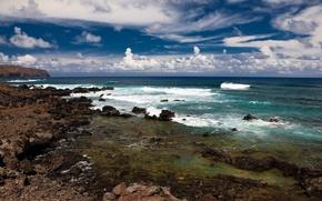 Wallpaper sea, wave, summer, the sky, shore, clouds