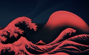 Picture The ocean, Wave, Red, Foam, Red Waves