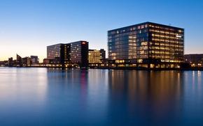 Picture lights, buildings, harbour, blue hour, Denmark, Copenhagen, The capital