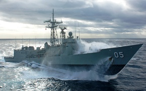 Picture wave, the ocean, Melbourne, frigate, Australia, rocket, Navy, class, HMAS, Adelaide