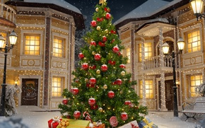 Picture christmas, winter, snow, decoration, christmas tree