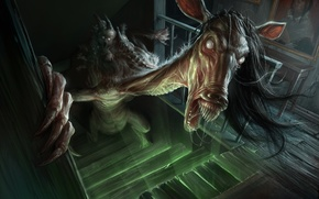 Picture horse, creepy, stairs, humanoid creature, demoniac