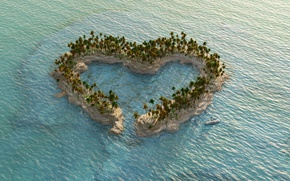 Picture Nature, Sea, Heart, Island, Palm trees, USA