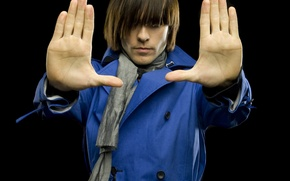 Picture style, haircut, palm, Jared Leto, Jared Leto, grey scarf, blue coat