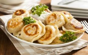 Picture greens, close-up, plate, dumplings