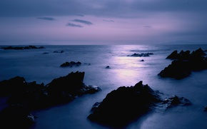 Picture sea, the sky, clouds, stones, lilac, shore, the evening, Japan, calm, Japan, twilight