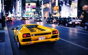 Picture car, city, Auto, Yellow, The city, Lamborghini, yellow, Diablo, Lamborghini, Diablo