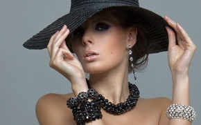 Picture look, style, model, hat, earrings, necklace, shoulders