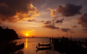 Picture the sky, clouds, sunset, pier, Thailand, Thailand, sky, sunset, clouds