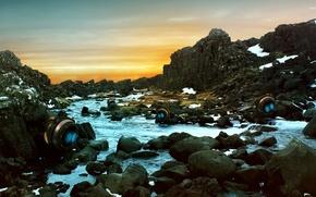 Picture stones, rocks, river, Iceland, thingvellir