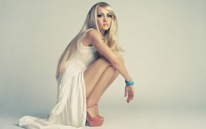 Wallpaper pose, hands, look, beads, hair, makeup, dress, heels, model