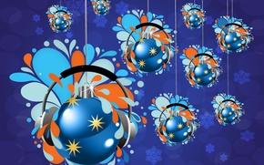 Picture balls, headphones, Christmas decorations