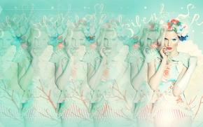 Picture girl, blur, cream, Retro, full, efect