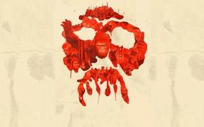 Picture cinema, sake, red, gun, blood, monkey, weapon, hat, man, survivor, movie, animal, revolution, film, rifle, …