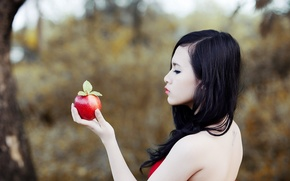 Picture girl, Apple, Asian