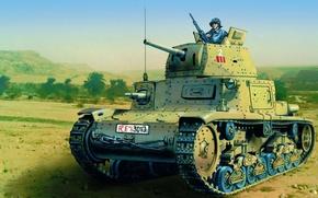 Picture war, art, painting, tank, ww2, Italian Medium Tank, Fiat M13/40