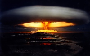 Wallpaper war, a nuclear explosion, night