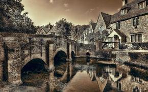 Picture bridge, river, England, Wiltshire, Castle Combe