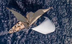 Picture the ocean, height, yacht, sails, regattas