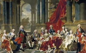 Wallpaper portrait, genre, Louis Michel Van Loo, The Family Of Philip V