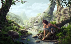 Picture girl, the plane, stream, jungle, the skeleton, art, ruins, river, lara croft, tomb raider