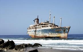Picture sea, stones, shore, ghost. ship
