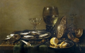 Picture picture, Willem Claesz Heda, Still life with a Silver Tableware and Oysters