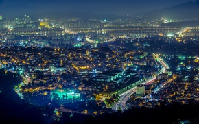 Picture lights, panorama, skyscrapers, Seoul, South Korea