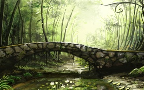 Wallpaper trees, bridge, river, Lily, art, stone, sunimo