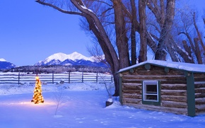 Picture snow, mountains, house, tree