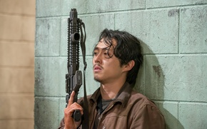 Picture weapons, wall, The Walking Dead, The walking dead, Steven Yeun, Glenn